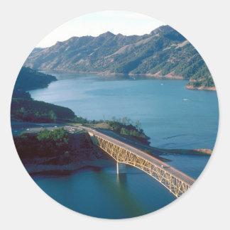 Lake Sonoma aerial photograph Classic Round Sticker