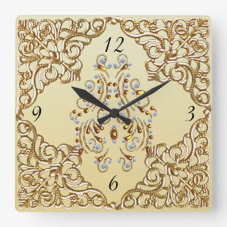Lakshmi's Jewels Square Wall Clock