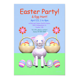 Lamb and Eggs Easter Party Card