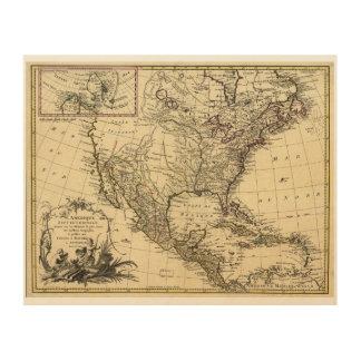 L'Amérique septentrionale North America Map (1757) Wood Canvas