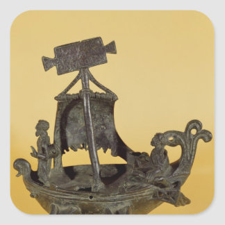 Lamp in the form of a boat square sticker