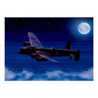 Lancaster Bomber Night Flight Poster