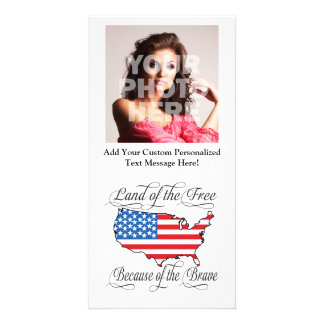 Land of the Free because of the Brave Patriotic US Personalized Photo Card