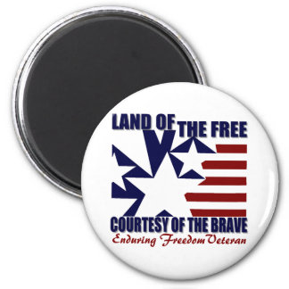 Land of the Free: OEF Vet 6 Cm Round Magnet