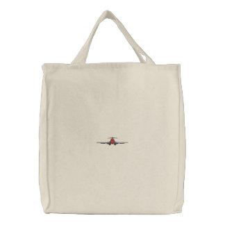 Landing Airliner Embroidered Tote Bag