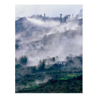 Landscape in the fog postcard