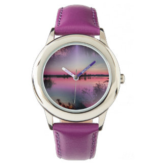 landscape lake wristwatch