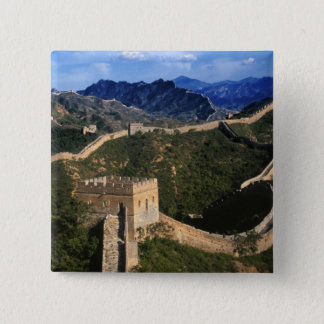 Landscape of Great Wall, Jinshanling, China 15 Cm Square Badge