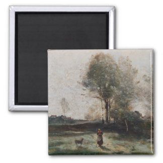 Landscape or, Morning in the Field Square Magnet