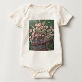 landscape paint painting hand art nature Racoons Baby Bodysuit