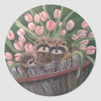 landscape paint painting hand art nature Racoons Classic Round Sticker