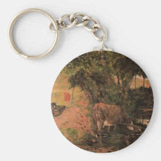 Landscape with cows in an Orchard by Paul Gauguin Basic Round Button Key Ring