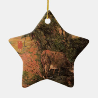 Landscape with cows in an Orchard by Paul Gauguin Ceramic Star Decoration