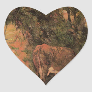 Landscape with cows in an Orchard by Paul Gauguin Heart Sticker