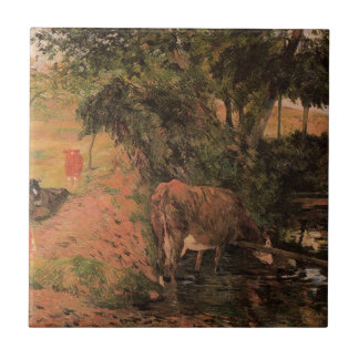 Landscape with cows in an Orchard by Paul Gauguin Small Square Tile