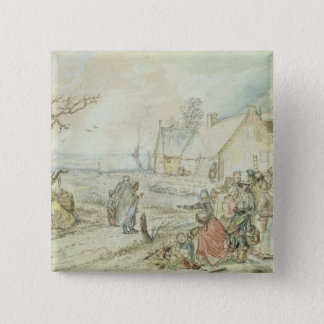 Landscape with Gypsy Fortune-Tellers 15 Cm Square Badge