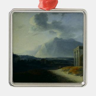 Landscape with Mount Stromboli Silver-Colored Square Decoration