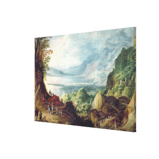Landscape with Sea and Mountains (oil on canvas) Canvas Print