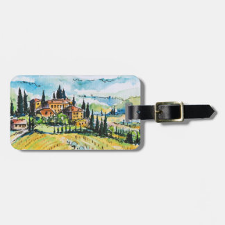 Landscape with town and cypress trees luggage tag