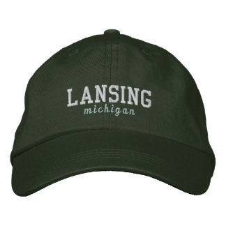 Lansing Michigan Green Hat Embroidered Baseball Caps