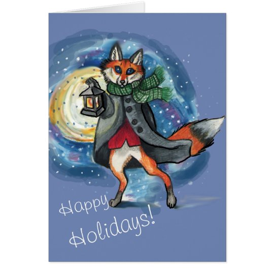 Lantern Fox in the Snow~holiday card
