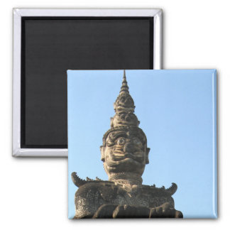 Lao Giant Demon ... Buddha Park, Vientiane, Laos Square Magnet