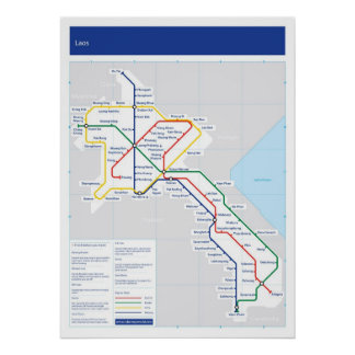 Laos tube map poster