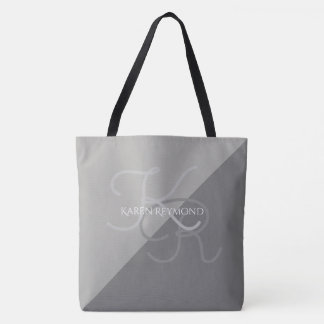 large all-over-printed two-tones grey monogrammed tote bag