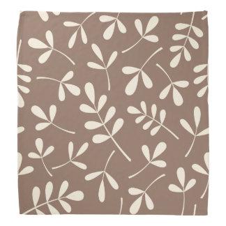 Large Assorted Cream Leaves on Taupe Pattern Bandana