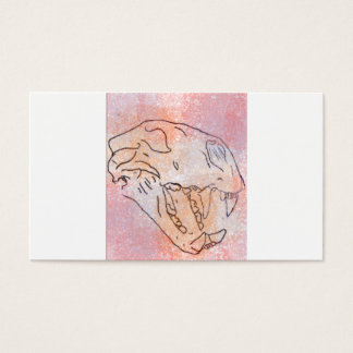 large cat skull watercolour (red) business card