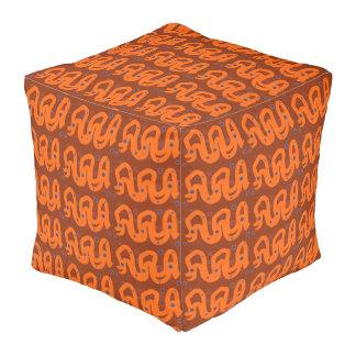 Large Cube Pouf Orange Brown Navy Cube Pouffe