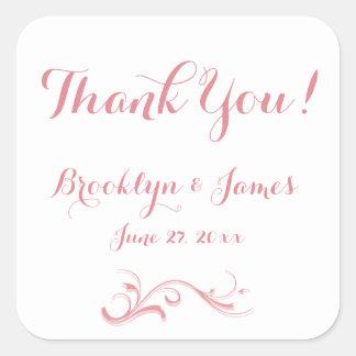 Large Custom Thank You White Pink Wedding Stickers