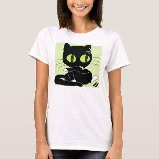 Large Cute Black Cartoon Cat With Big Eyes T-Shirt