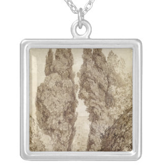 Large Cypresses at the Villa d'Este Silver Plated Necklace