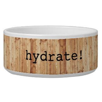 """Large """"hydrate!"""" ceramic dog bowl – wood"""