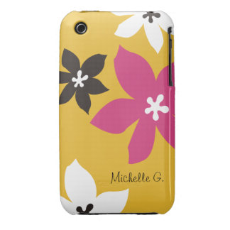 Large modern flower print personalized yellow pink iPhone 3 covers