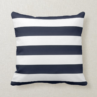 Large Navy Blue and White Stripes Throw Pillow