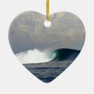 Large ocean surfing wave christmas ornament