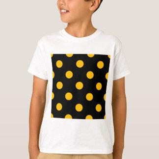 Large Polka Dots - Amber on Black T-Shirt