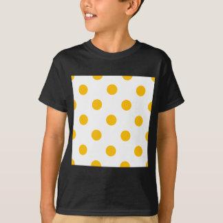 Large Polka Dots - Amber on White T-Shirt