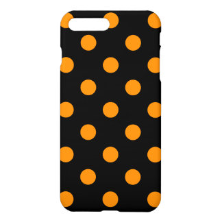 Large Polka Dots - Tangerine on Black iPhone 8 Plus/7 Plus Case