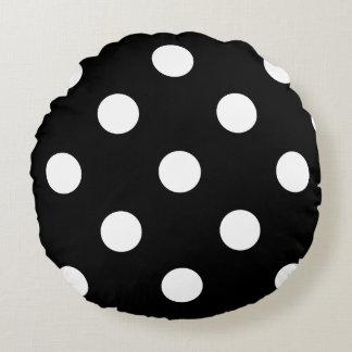 Large Polka Dots - White on Black Round Cushion