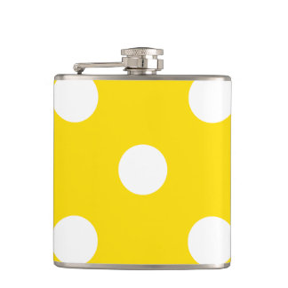 Large Polka Dots - White on Golden Yellow Flasks