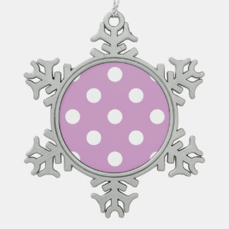 Large Polka Dots - White on Light Medium Orchid Snowflake Pewter Christmas Ornament