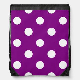 Large Polka Dots - White on Purple Drawstring Bag