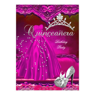 Large Quinceanera 15th Birthday Pink Dress 5.5x7.5 Paper Invitation Card