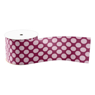 Large retro dots - burgundy and shell pink grosgrain ribbon