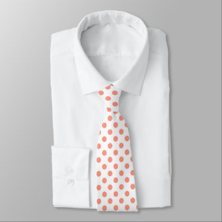 Large retro dots - coral pink and white tie