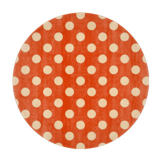 Large retro dots - mandarin and pale orange cutting boards