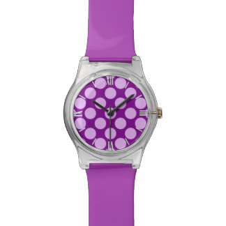 Large retro dots - orchid and purple watch